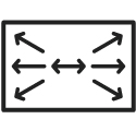 A rectangle with arrows pointing outwards