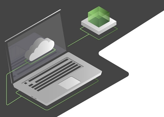 graphic of a computer connected to a green cube