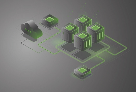 Green and black cloud connected to black and green cubes that look like servers